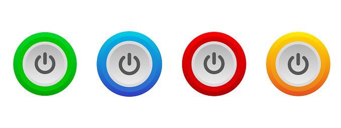 Power button set. 3d power buttons collection. Shut down icon set. Buttons set. Isolated vector icon. Sign symbol icon vector. 3d vector. Stop sign. Start and stop sign.