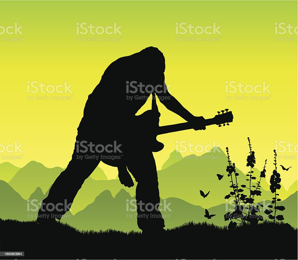 Power chord in the mountains royalty-free stock vector art