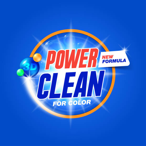 power clean. template for laundry detergent. package design for washing powder & liquid detergents. stock vector - disinfectant stock illustrations