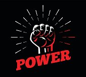 Power front fist vector isolated sign on dark background & vintage sun burst hand drawn rays