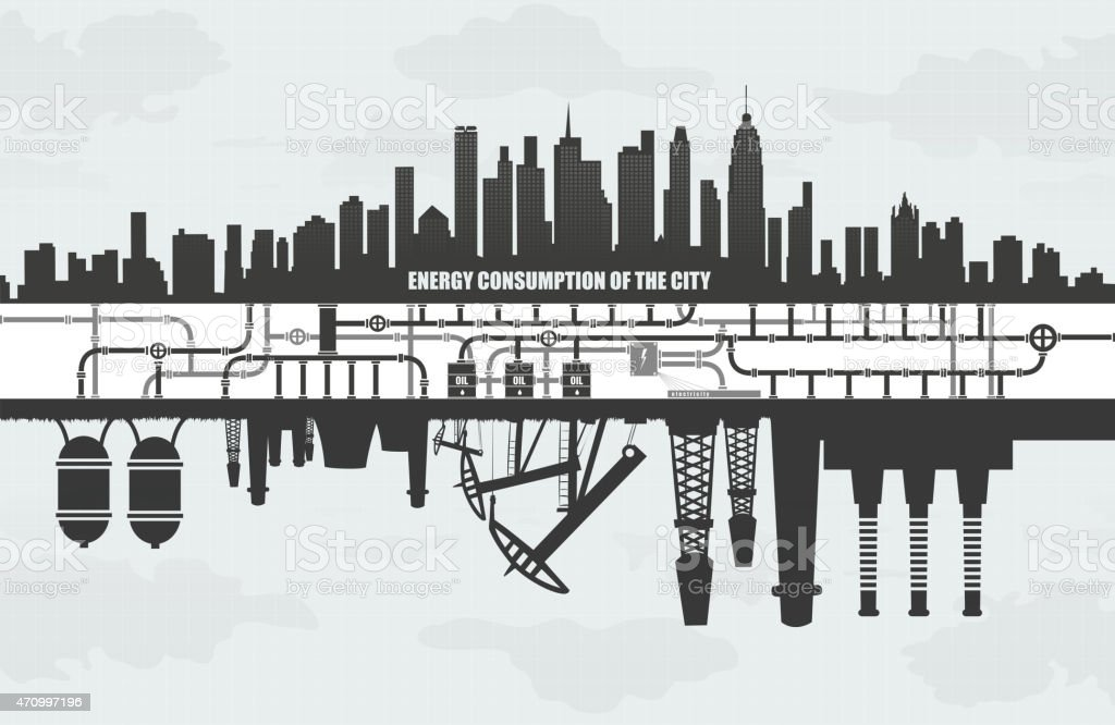 power consumption  large cities, factories and oil waste pollution, vector art illustration