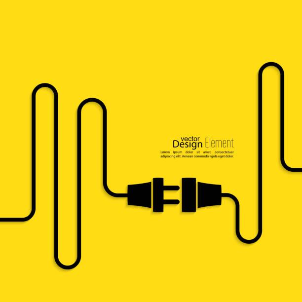 tło abstrakcyjne z przewodem i wtyczką - przewód składnik elektryczny stock illustrations