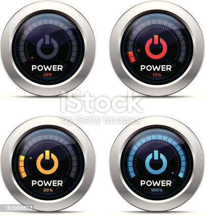 Power level meter. Includes extras folder with 21 illustrations showing power levels from Off to 100% in 5 unit increments. Included files come in jpeg and eps10 format.