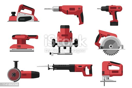 Power electric tools set in flat style. Red industrial instrument. Illustrations of saws, drill, planer, grinders, screwdriver.