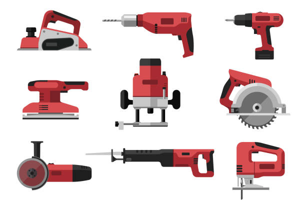 Power electric tools Power electric tools set in flat style. Red industrial instrument. Illustrations of saws, drill, planer, grinders, screwdriver. drill stock illustrations