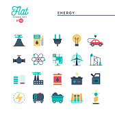 Power, energy, electricity production and more, flat icons set