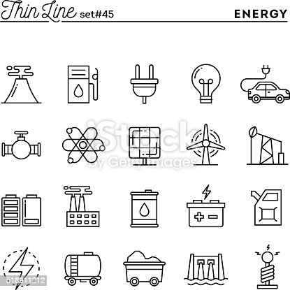 Power, energy, electricity production and more, thin line icons set, vector illustration
