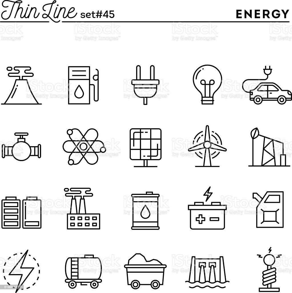 Power, energy, electricity production and more, thin line icons vector art illustration