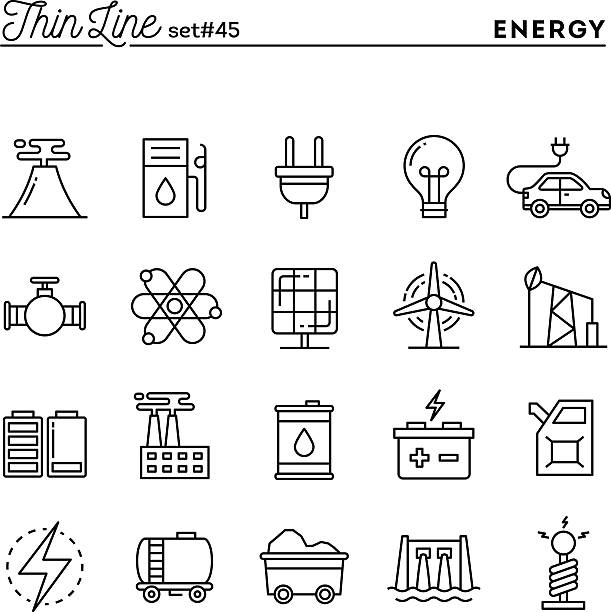 Power, energy, electricity production and more, thin line icons Power, energy, electricity production and more, thin line icons set, vector illustration spring flowing water stock illustrations