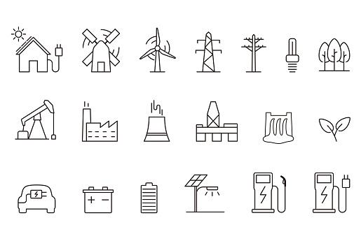 power energy icon set, vector illustration