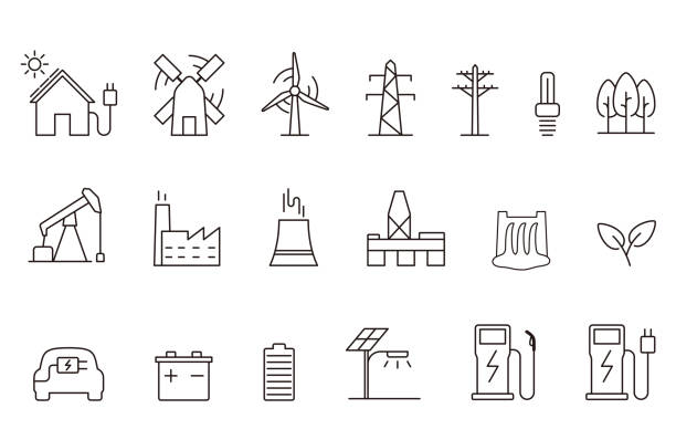 power energy icon set, vector illustration power energy icon set, vector illustration hybrid vehicle stock illustrations