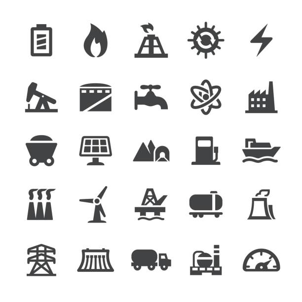 Coal Fired Power Station Illustrations, Royalty-Free