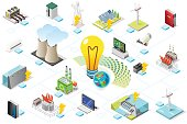 Power grid infographic, generating of power consumption. Energy element on line transmission. Station with high voltage socket. Flat isometric flowchart concept with characters. Vector illustration.