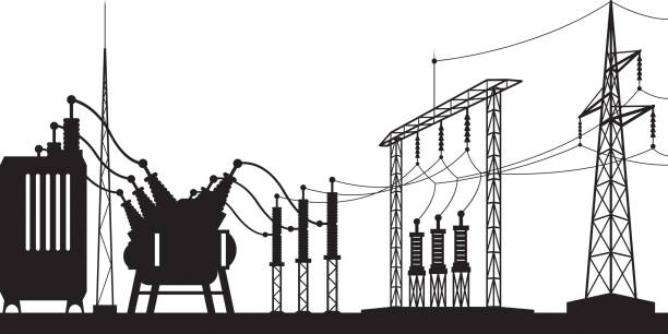 Power grid substation Power grid substation - vector illustration power station stock illustrations