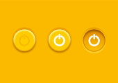 Power icon. Circular neumorphic power on off buttons for user Interface. Neumorphism icons. User interface elements for mobile app. Neumorphic UI UX white user interface web buttons