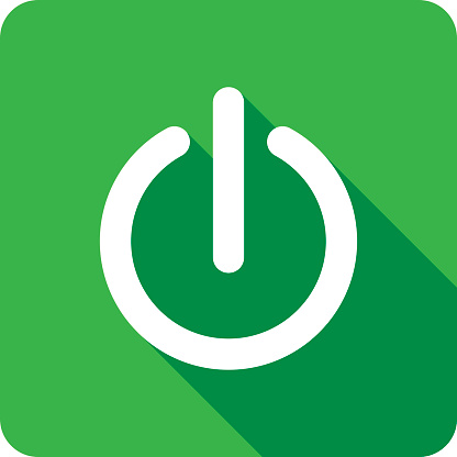 Vector illustration of a green power icon in flat style.