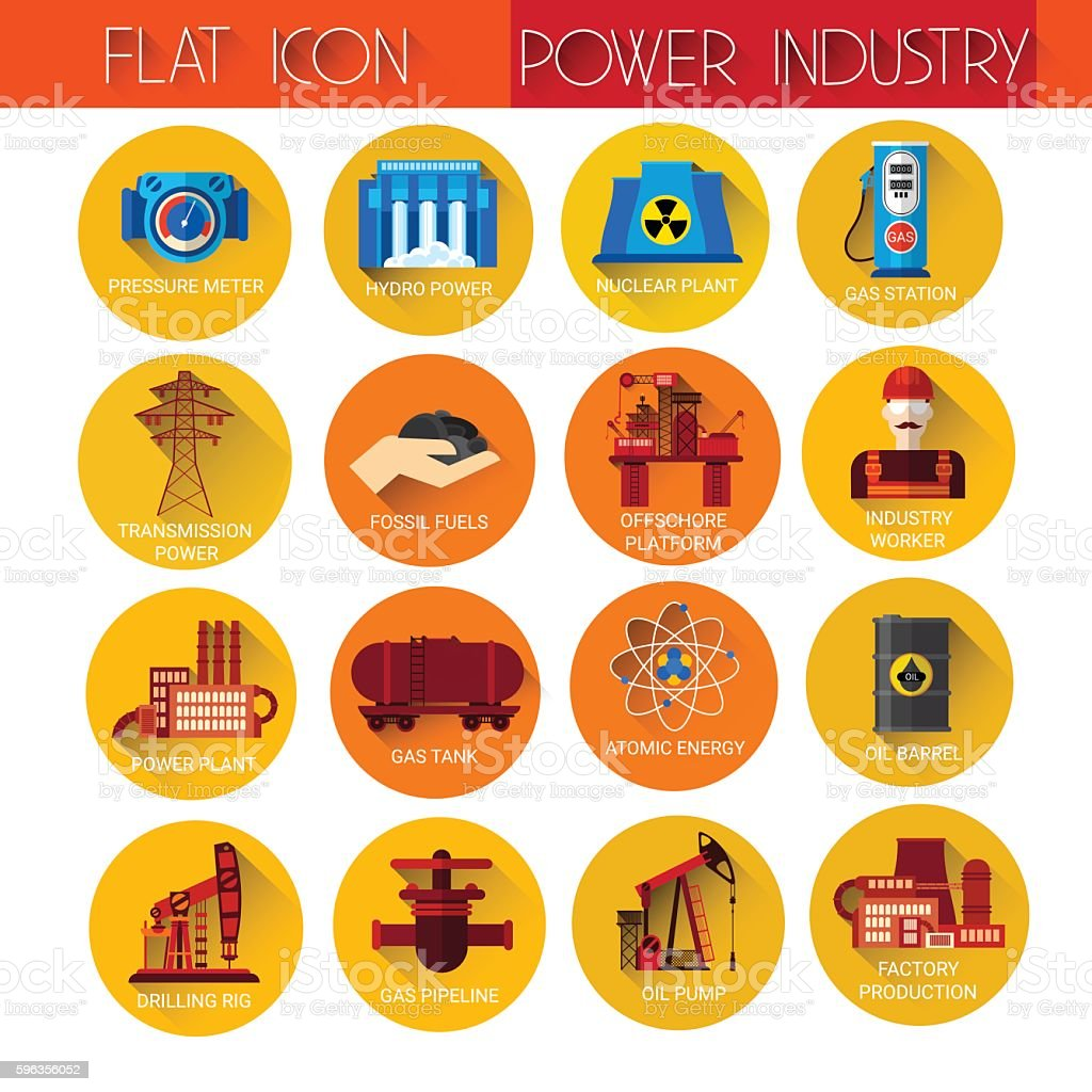 Power Industry Collection Icon Set royalty-free power industry collection icon set stock vector art & more images of business