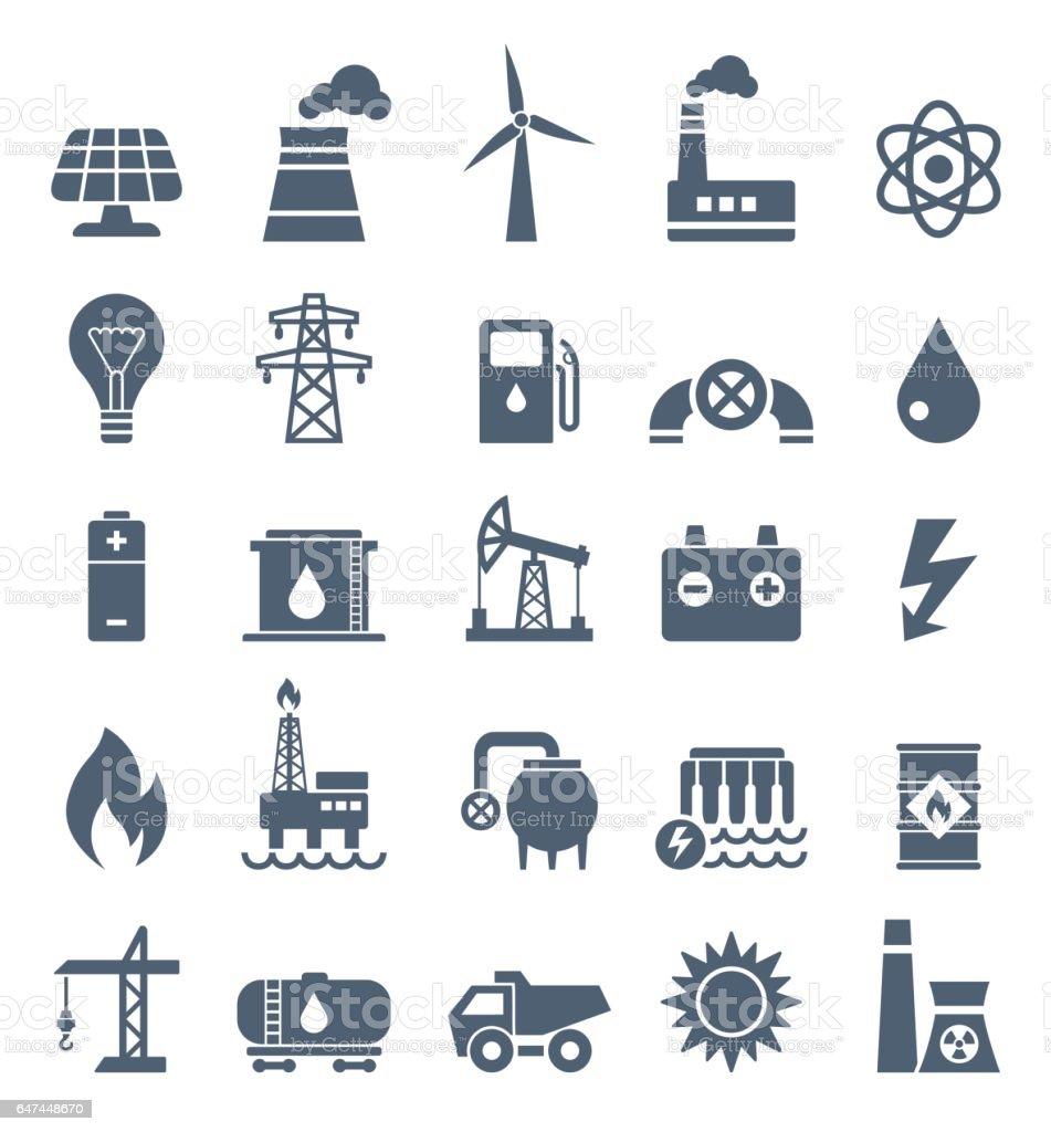 Power Industry Flat Black Icons - illustration vector art illustration