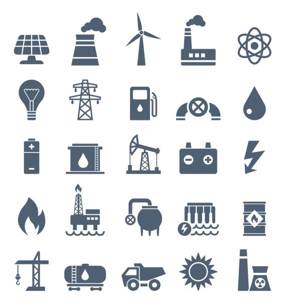 Power Industry Flat Black Icons - illustration vector art illustration