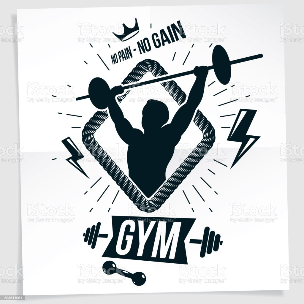 Power lifting competition poster created with vector illustration of muscular bodybuilder holding barbell sport equipment. No pain, no gain quote. vector art illustration