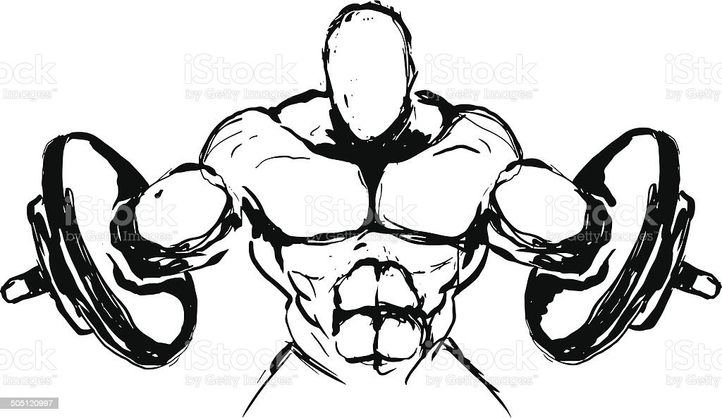 Power lifting sketch concept. vector art illustration