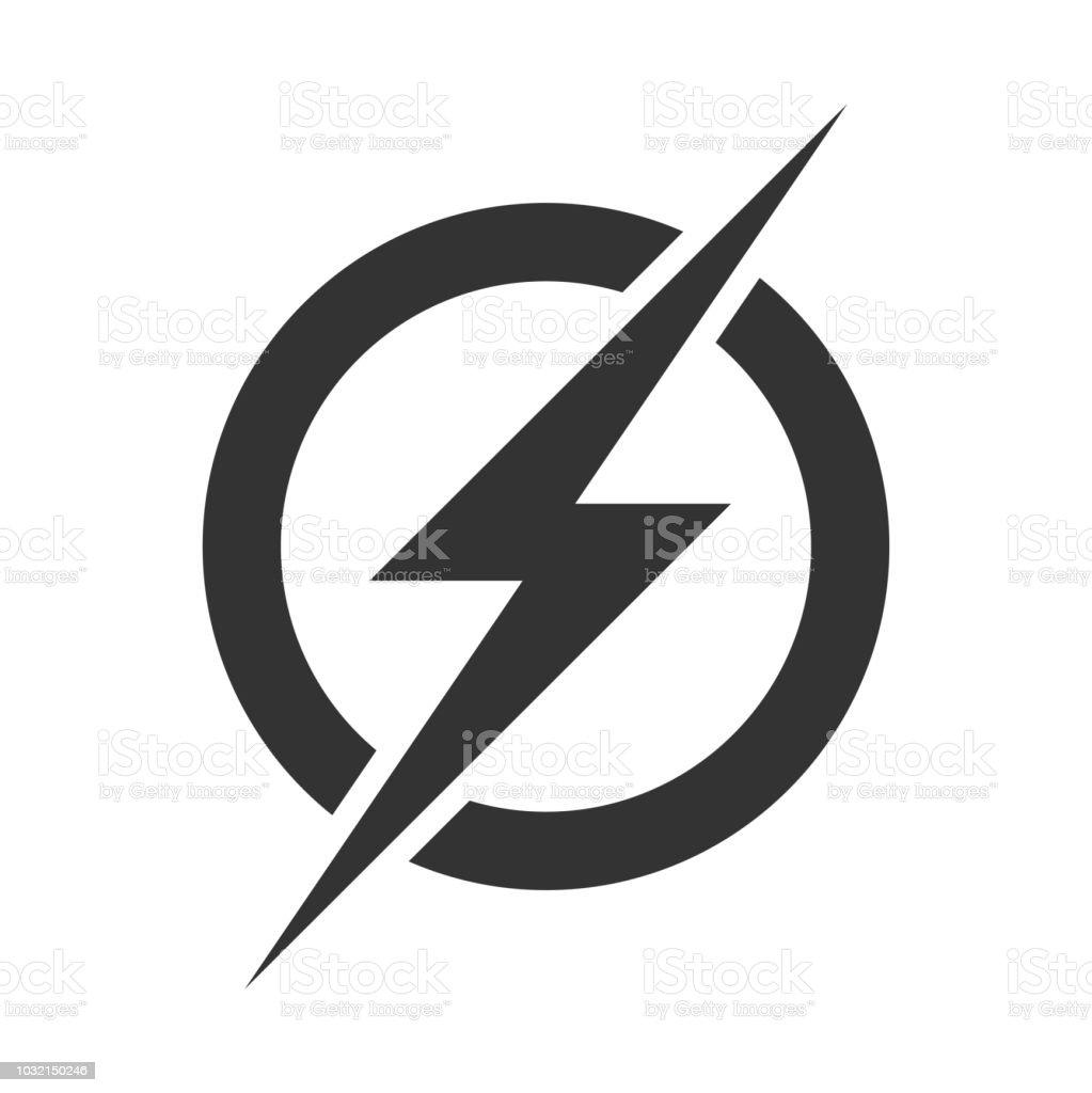 Power-Blitz-Logo-Symbol. Vektor elektrische schnell Donner Blitz Symbol auf transparenten Hintergrund isoliert - Lizenzfrei Beleuchtet Vektorgrafik
