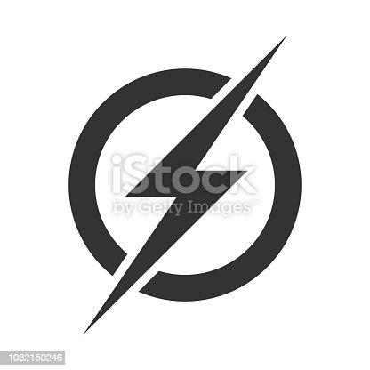 istock Power lightning logo icon. Vector electric fast thunder bolt symbol isolated on transparent background 1032150246