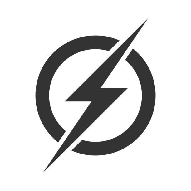 ikona logo power lightning. wektor elektryczny szybki symbol śruby grzmot izolowane na przezroczystym tle - elektryczność stock illustrations