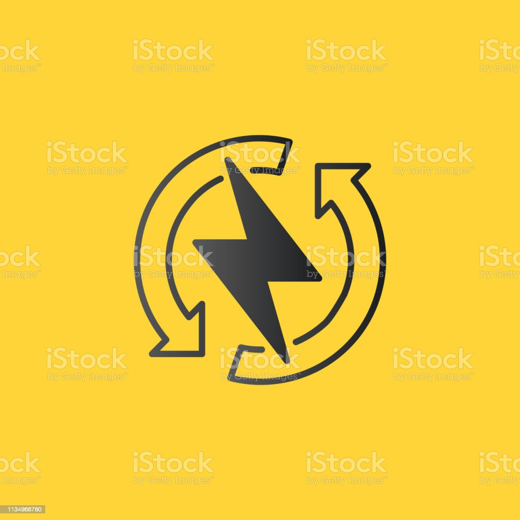 power lightning with circle refresh arrows logo icon vector electric fast thunder bolt symbol vector illustration isolated on yellow background stock illustration download image now istock https www istockphoto com vector power lightning with circle refresh arrows logo icon vector electric fast thunder gm1134968780 301773664