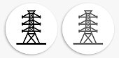 Power Line Black and White Round Icon. This 100% royalty free vector illustration is featuring a round button with a drop shadow and the main icon is depicted in black and in grey for a roll-over effect.
