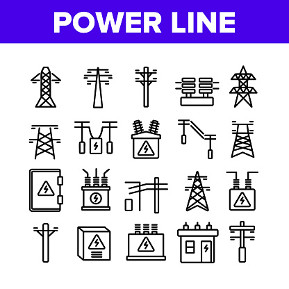 Power Line Electricity Collection Icons Set Vector. Power Line Tower And Electric Wire Cord, Transformer And Lightning Mark Concept Linear Pictograms. Monochrome Contour Illustrations