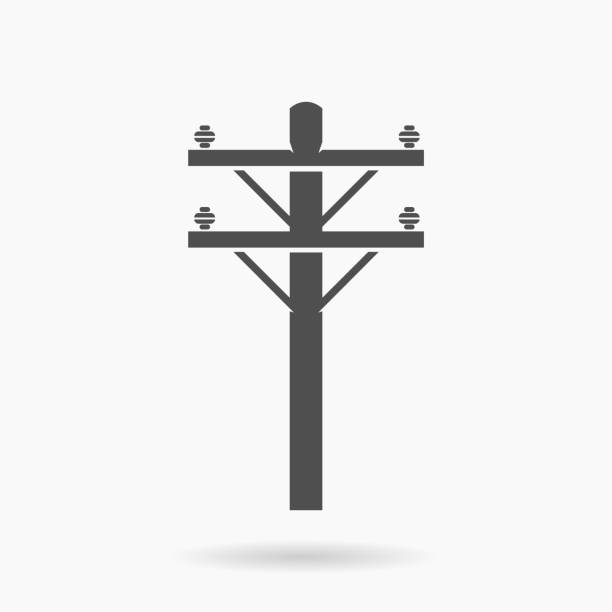 stockillustraties, clipart, cartoons en iconen met power line icoon illustratie vector - hoogspanningsmast