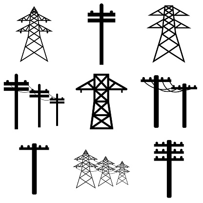 Power line icon, logo isolated on white background