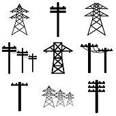 istock Power line icon, logo isolated on white background 1285828229