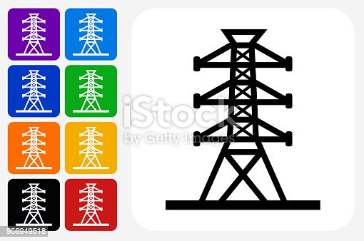 Power Line Icon Square Button Set. The icon is in black on a white square with rounded corners. The are eight alternative button options on the left in purple, blue, navy, green, orange, yellow, black and red colors. The icon is in white against these vibrant backgrounds. The illustration is flat and will work well both online and in print.