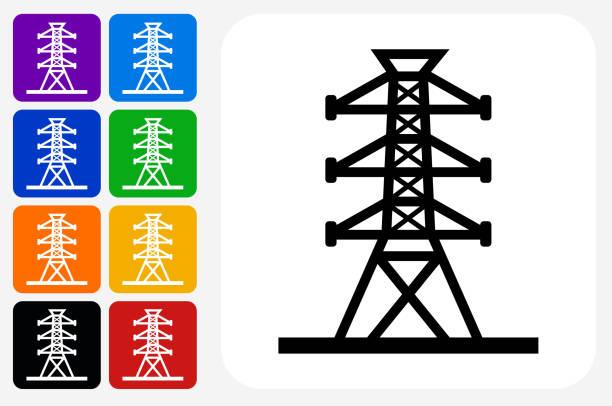 Power Line Icon Square Button Set vector art illustration