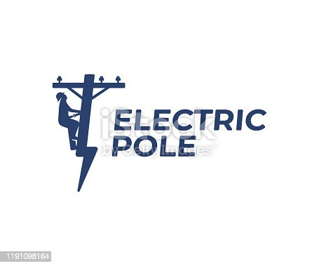 Power line repair design. Lineman and lightning bolt vector design. Lightning-shaped electric pole illustration