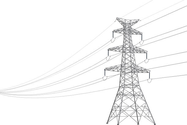 stockillustraties, clipart, cartoons en iconen met power line - hoogspanningsmast