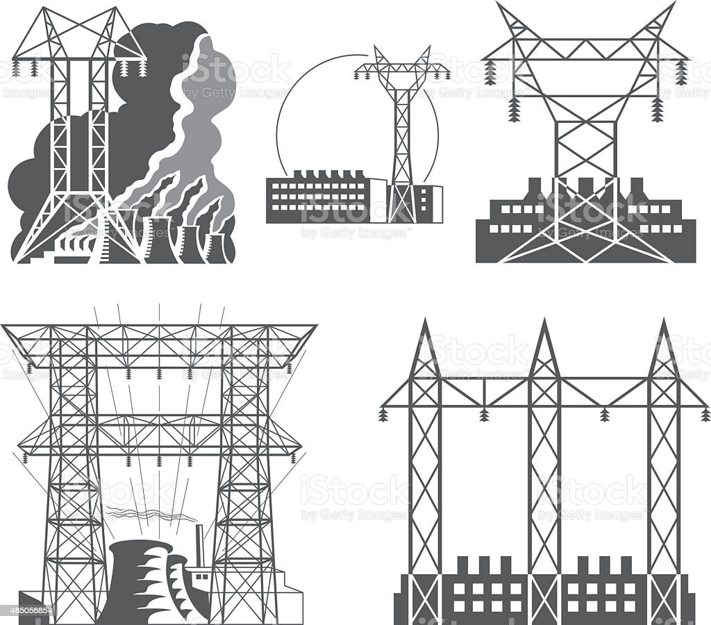 best electrical wiring construction illustrations, royalty  transmission tower high voltage