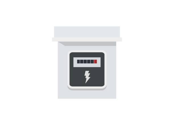 ilustraciones, imágenes clip art, dibujos animados e iconos de stock de caja del medidor de potencia ilustración simple - amperímetro