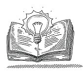 Hand-drawn vector drawing of a Power Of Knowledge Concept with an open Book and a shining Lightbulb. Black-and-White sketch on a transparent background (.eps-file). Included files are EPS (v10) and Hi-Res JPG.