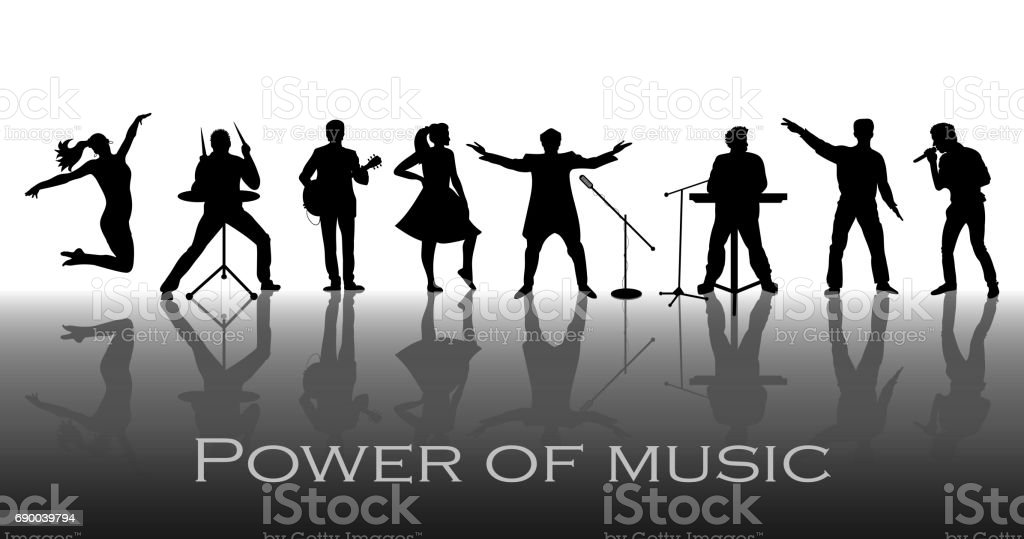 Power of music concept. Set of black silhouettes of musicians, singers and dancers. Vector illustration vector art illustration
