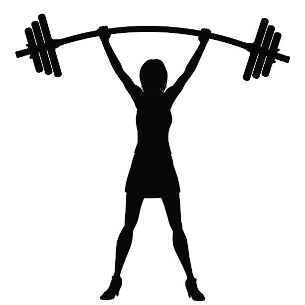 Power of woman EPS8 editable vector silhouette of a woman easily lifting a heavy weight barbell bending stock illustrations
