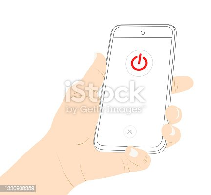 istock Power off, turn off, off, close, mobile phone, smart phone, hand, turn of device vector stock. 1330908359