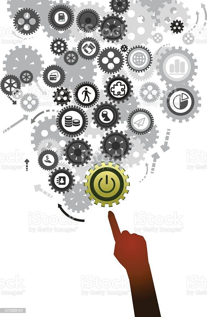Power on button illustration with hand royalty-free stock vector art