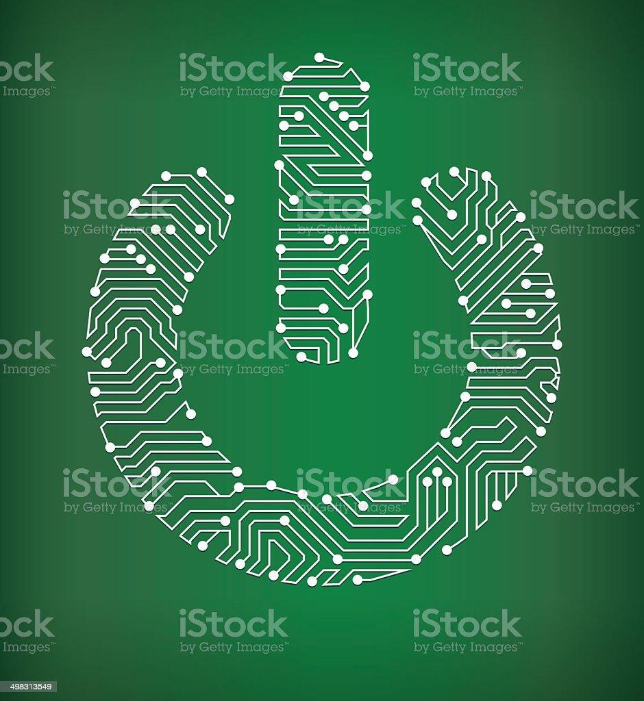 Power On Circuit Board royalty free vector art background vector art illustration