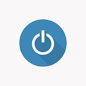 power on Flat Blue Simple Icon with long shadow