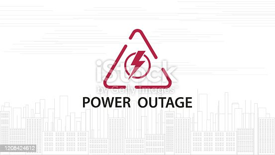 Power outage, warning red line sign with triangular icon of electricity and line silhouette of city on background, white illustration
