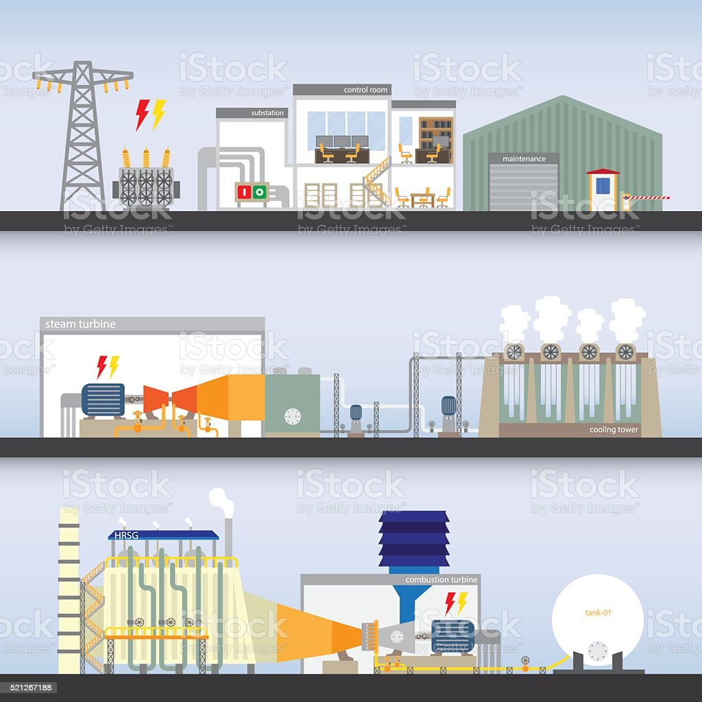 power plant combine cycle simple graphic vector art illustration