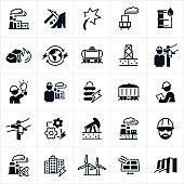 A set of icons related to the production of electricity via power plants or power stations. The icons include a power plant or power station, coal and oil as fossil fuels used to power the plants in energy production, electricity, a power plant smoke stack, an oil well, the earth, power line, engineers, coal and oil on a railway, geothermal station, nuclear power station, solar power station, wind turbine and other forms of energy producing conceptual symbols.